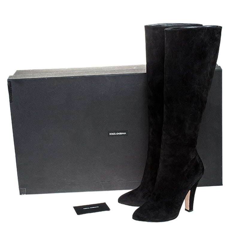 Dolce and Gabbana Black Suede Knee Length Boots Size 39 For Sale 4