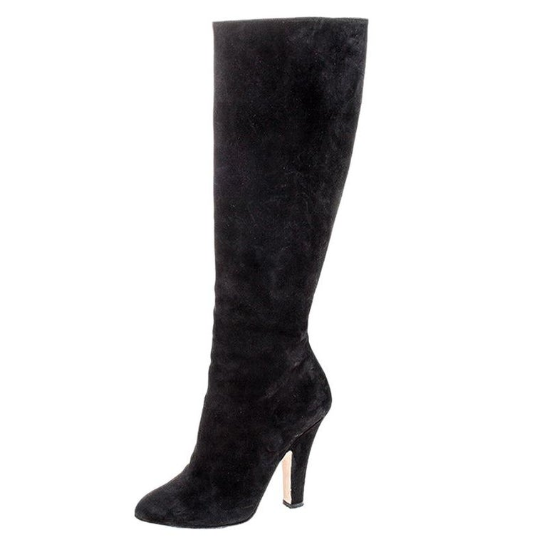 Dolce and Gabbana Black Suede Knee Length Boots Size 39 For Sale