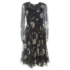 Dolce and Gabbana Black Sunflower Print Silk Gathered Midi Dress M
