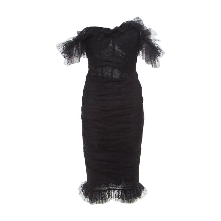 bfbc78063d85 Dolce and Gabbana Black Swiss Dot Lace Ruffled Ruched Dress S For Sale