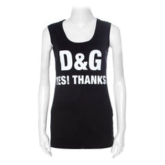 Dolce and Gabbana Black Text Print Cotton Sleeveless Vest XS