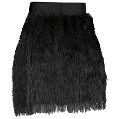 Dolce and Gabbana Black Textured Fringed Mini Skirt S