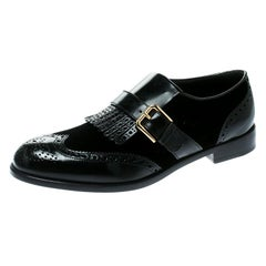 Dolce and Gabbana Black Velvet and Brogue Leather Buckle Detail Loafers Size 40