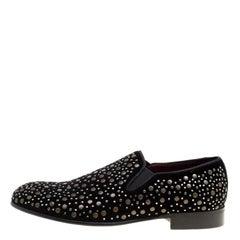 Dolce and Gabbana Black Velvet Crystal Studded Loafers Size 41