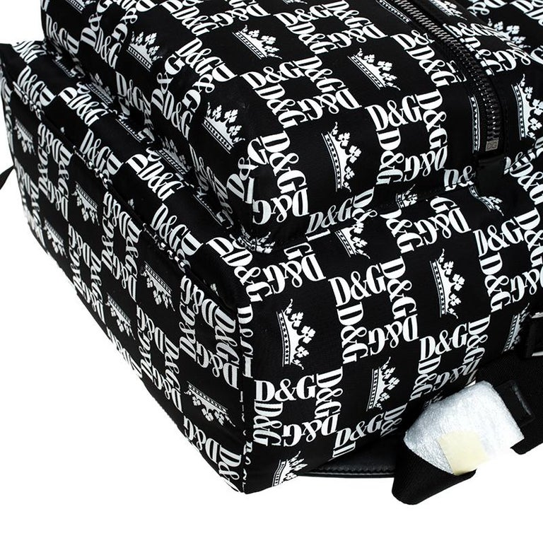 Dolce and Gabbana Black/White Logo Printed Nylon Backpack For Sale 6