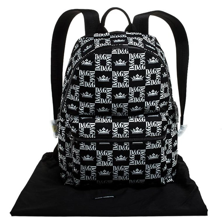 Dolce and Gabbana Black/White Logo Printed Nylon Backpack For Sale 8