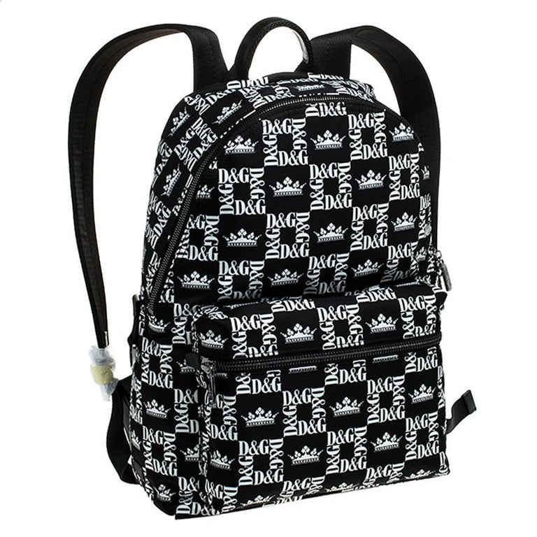 Women's Dolce and Gabbana Black/White Logo Printed Nylon Backpack For Sale