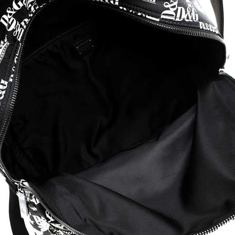 Dolce and Gabbana Black/White Logo Printed Nylon Backpack For Sale 4