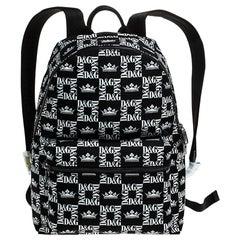 Dolce and Gabbana Black/White Logo Printed Nylon Backpack