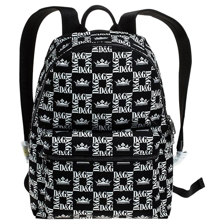 Dolce and Gabbana Black/White Logo Printed Nylon Backpack For Sale