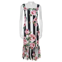 Dolce and Gabbana Black & White Striped Floral Print Stretch Silk Dress M