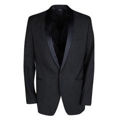 Dolce and Gabbana Black Wool Blend Satin Trim Tuxedo Suit M