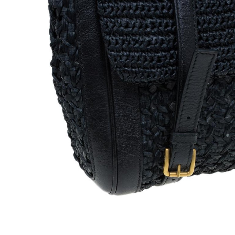 Dolce and Gabbana Black Woven Raffia Miss Sicily Top Handle Bag For Sale 6