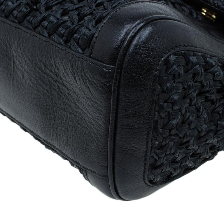 Dolce and Gabbana Black Woven Raffia Miss Sicily Top Handle Bag For Sale 7