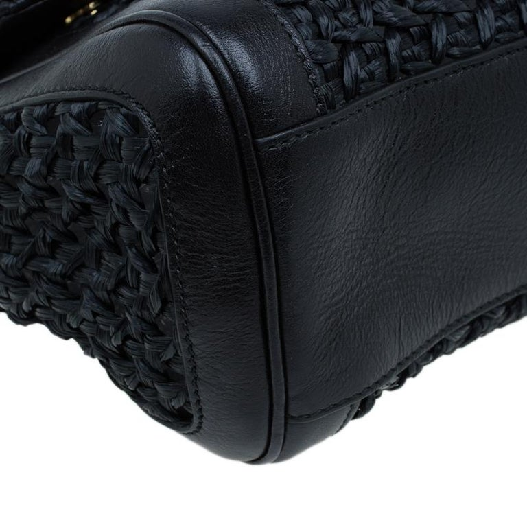 Dolce and Gabbana Black Woven Raffia Miss Sicily Top Handle Bag For Sale 8