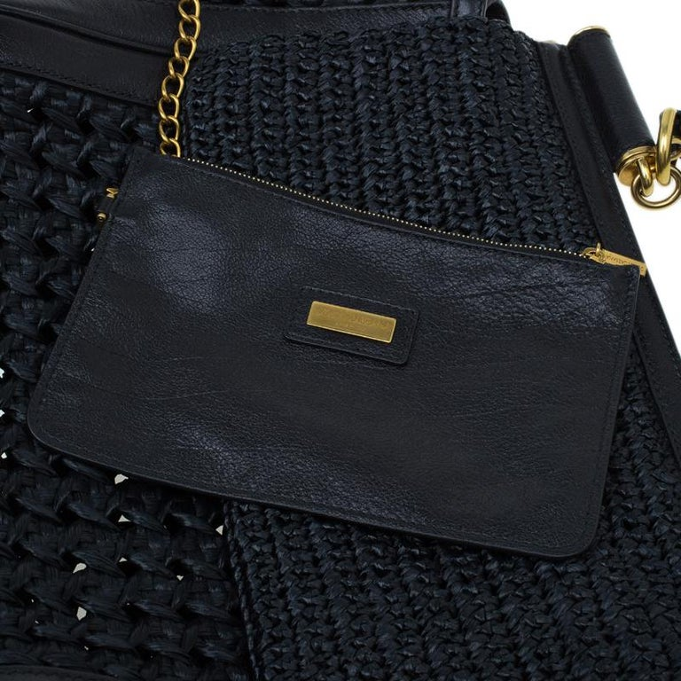 Dolce and Gabbana Black Woven Raffia Miss Sicily Top Handle Bag For Sale 11
