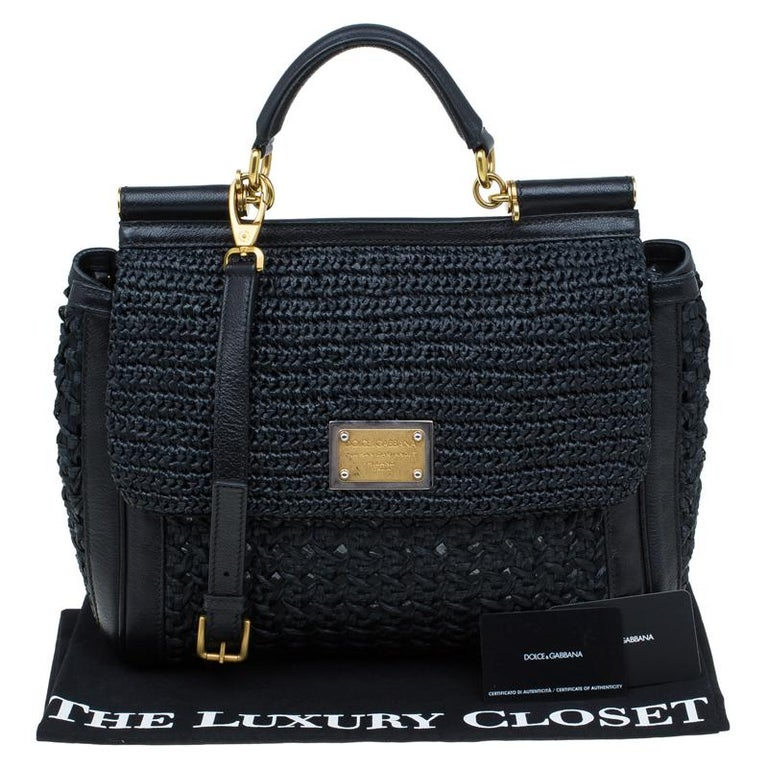 Dolce and Gabbana Black Woven Raffia Miss Sicily Top Handle Bag For Sale 12