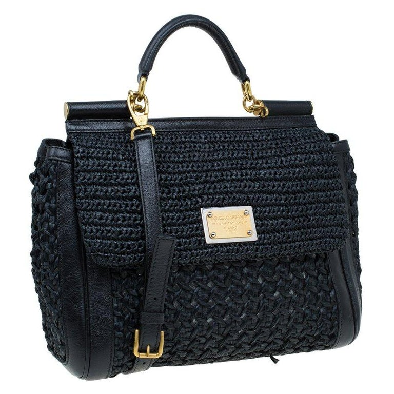 Women's Dolce and Gabbana Black Woven Raffia Miss Sicily Top Handle Bag For Sale