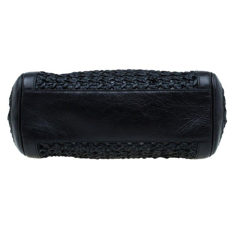 Dolce and Gabbana Black Woven Raffia Miss Sicily Top Handle Bag For Sale 1