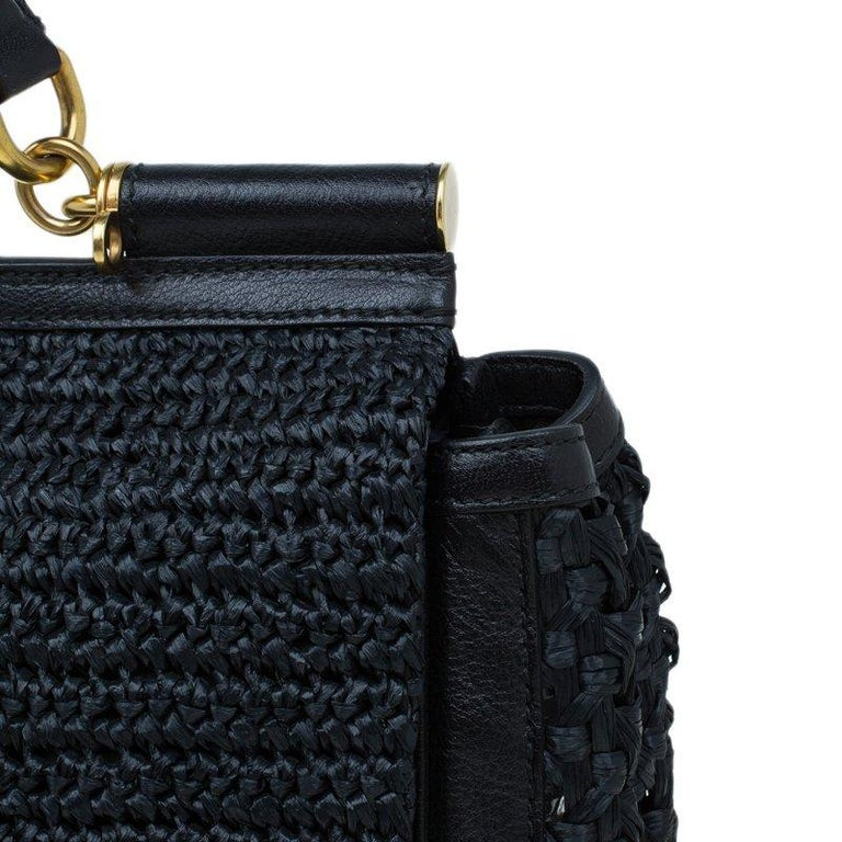 Dolce and Gabbana Black Woven Raffia Miss Sicily Top Handle Bag For Sale 2