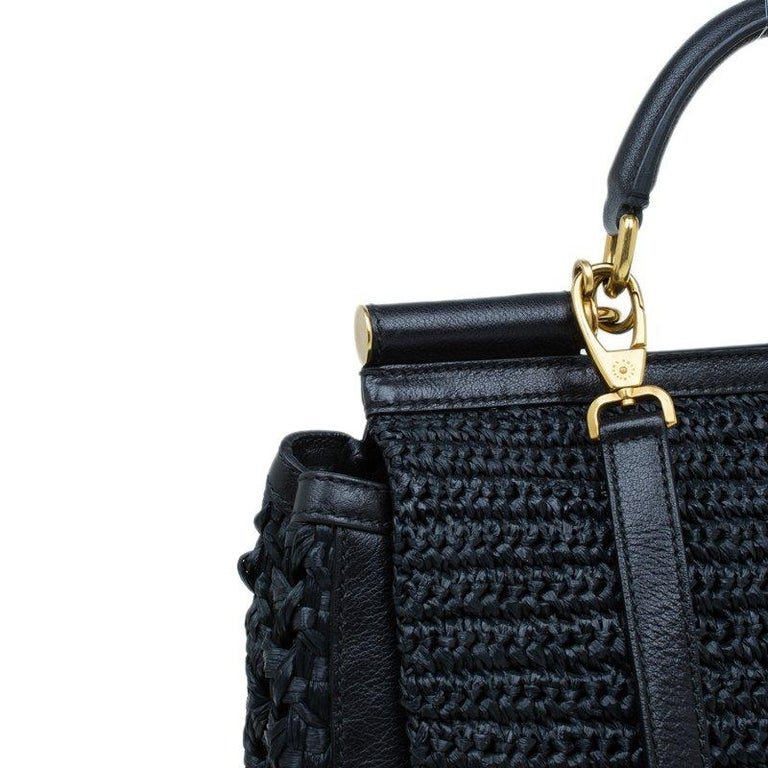 Dolce and Gabbana Black Woven Raffia Miss Sicily Top Handle Bag For Sale 3