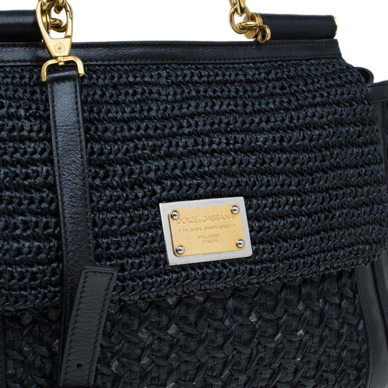 Dolce and Gabbana Black Woven Raffia Miss Sicily Top Handle Bag For Sale 4