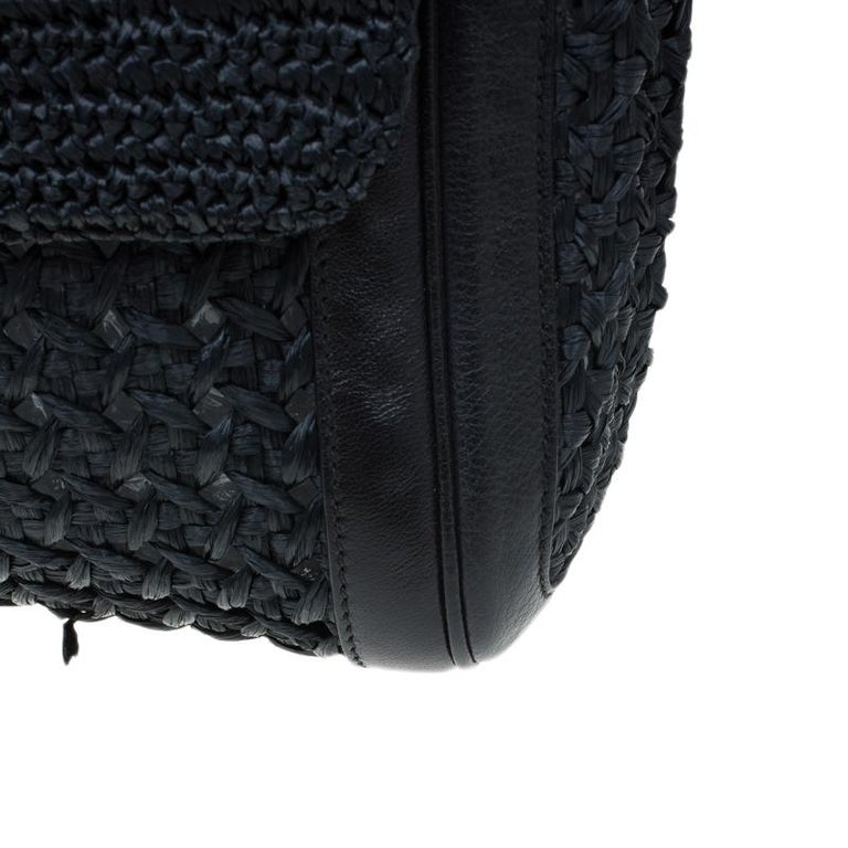 Dolce and Gabbana Black Woven Raffia Miss Sicily Top Handle Bag For Sale 5