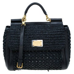 Dolce and Gabbana Black Woven Raffia Miss Sicily Top Handle Bag