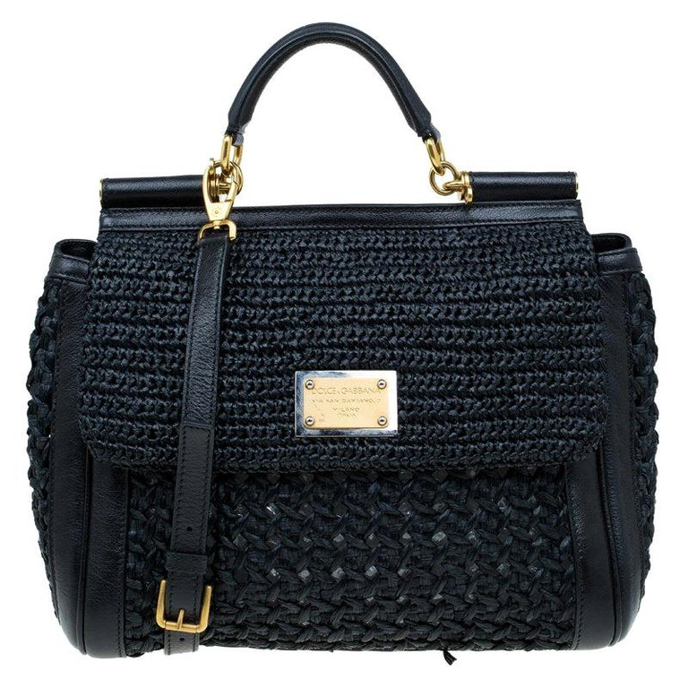 Dolce and Gabbana Black Woven Raffia Miss Sicily Top Handle Bag For Sale