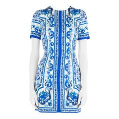 Dolce and Gabbana Blue and White Majolica Printed Silk Fitted Sheath Dress S