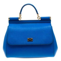Dolce and Gabbana Blue Leather Medium Miss Sicily Tote