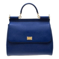 Dolce and Gabbana Blue Leather Miss Sicily ToteDolce and Gabbana Blue Leather Mi