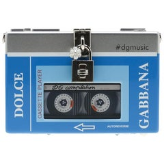 Dolce and Gabbana Blue/Silver Wood Walkman Box Clutch