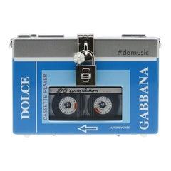 Dolce and Gabbana Blue/Silver Wood Walkman Box Clutch