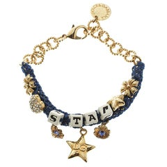 Dolce and Gabbana Blue Star Dice Charm Gold Tone Bracelet