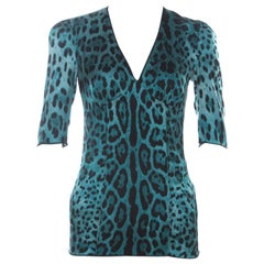 Dolce and Gabbana Blue Stretch Silk Leopard Print Three Quarter Sleeve Top S