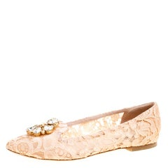 Dolce and Gabbana Blush Pink Lace Crystal Embellished Ballet Flats Size 39