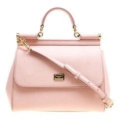 Dolce and Gabbana Blush Pink Leather Medium Miss Sicily Top Handle Bag