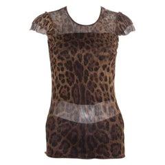Dolce and Gabbana Brown Animal Printed Ruffled Sleeve Mesh Top S
