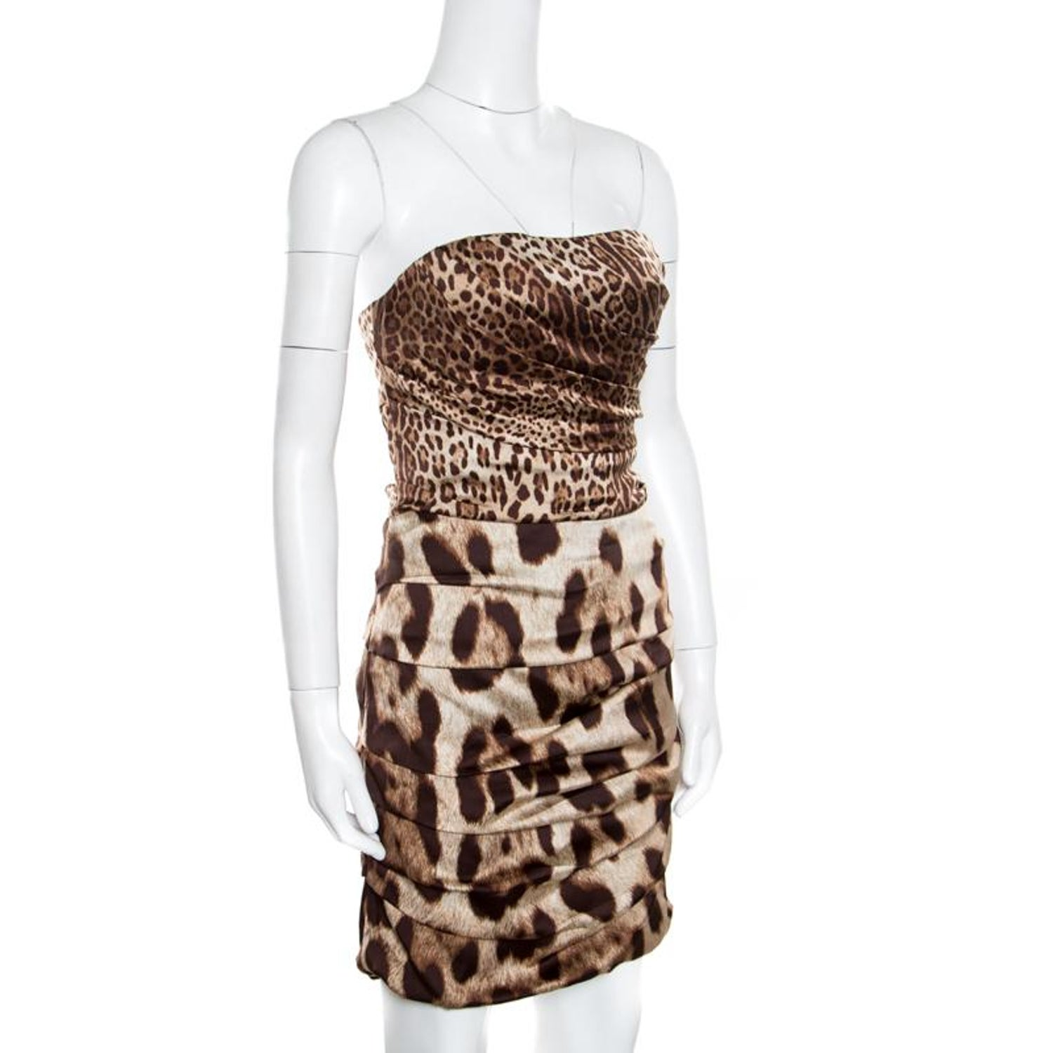 79315800 Dolce and Gabbana Brown Animal Printed Silk Ruched Strapless Corset Dress M  For Sale at 1stdibs