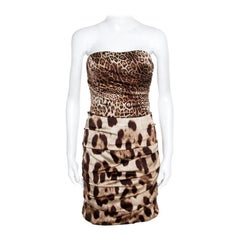 Dolce and Gabbana Brown Animal Printed Silk Ruched Strapless Corset Dress M