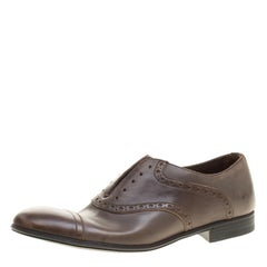 9bd994122467 Dolce and Gabbana Brown Antique Finish Brogue Leather Oxfords Size 39.5