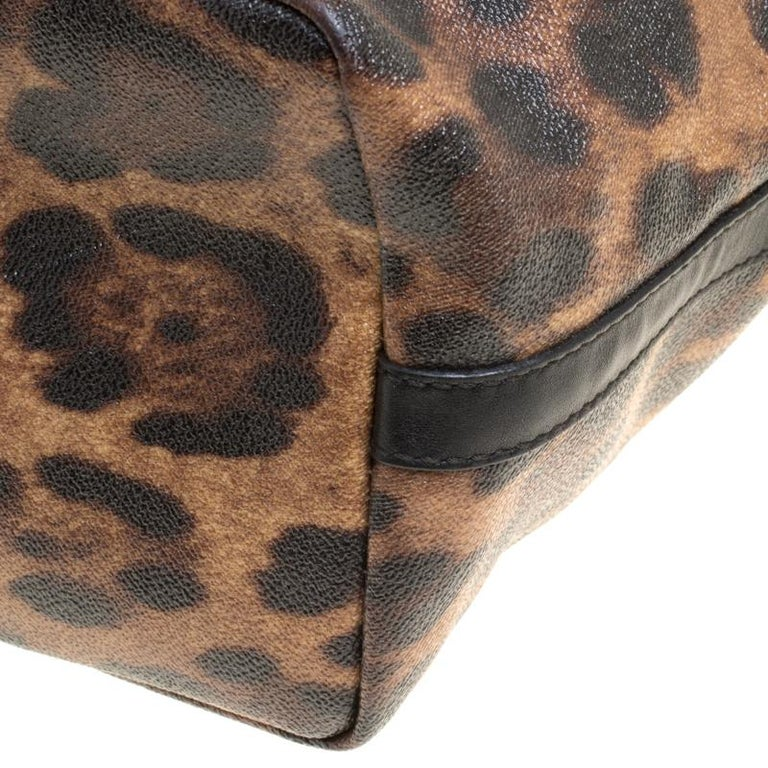 Dolce and Gabbana Brown/Black Leopard Print Coated Canvas Tote For Sale 6