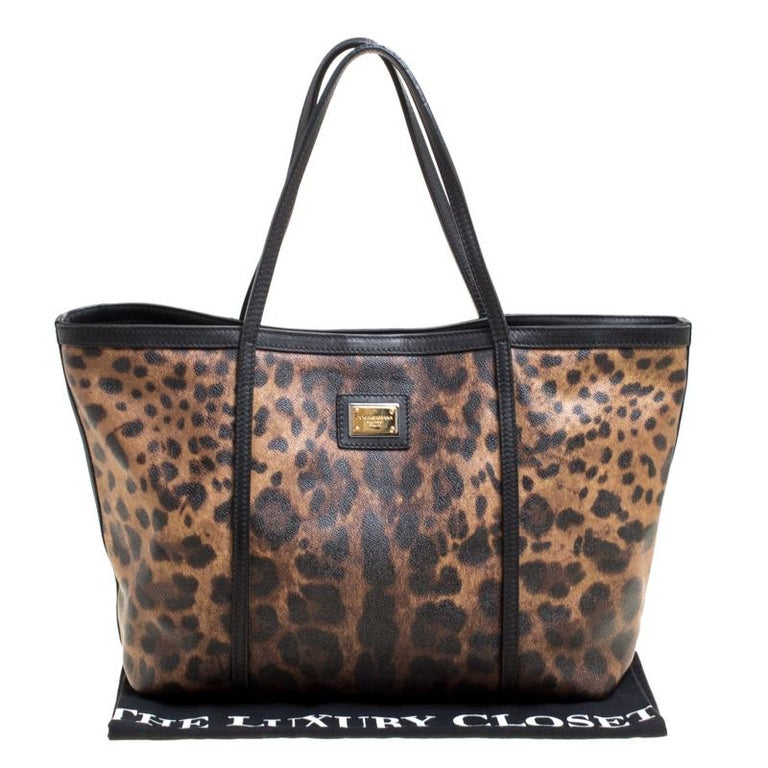 Dolce and Gabbana Brown/Black Leopard Print Coated Canvas Tote For Sale 7