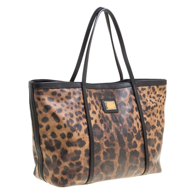 Women's Dolce and Gabbana Brown/Black Leopard Print Coated Canvas Tote For Sale