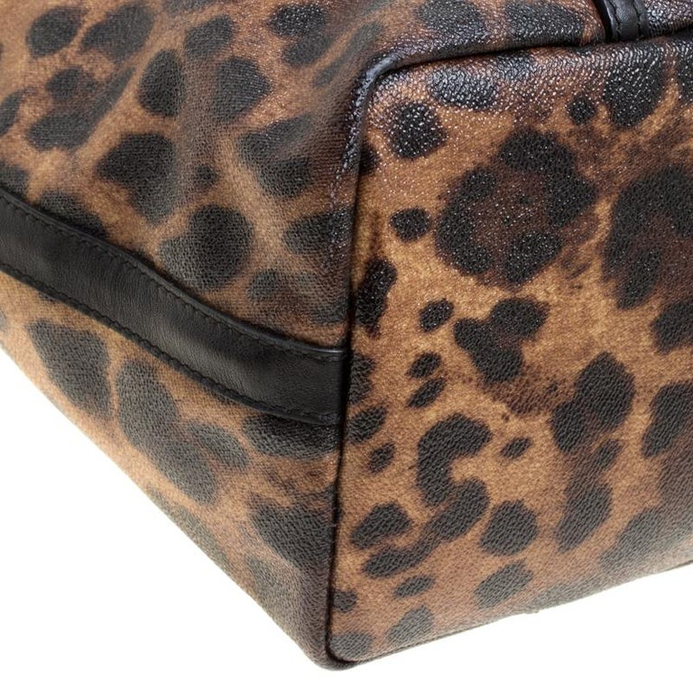 Dolce and Gabbana Brown/Black Leopard Print Coated Canvas Tote For Sale 5