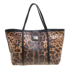 Dolce and Gabbana Brown/Black Leopard Print Coated Canvas Tote