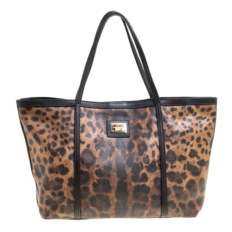 Dolce and Gabbana Brown/Black Leopard Print Coated Canvas Tote For Sale