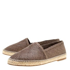 Dolce and Gabbana Brown Braided Leather Espadrilles Size 42
