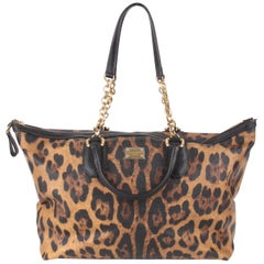 Dolce and Gabbana Brown Canvas Leather Leopard Print Handbag
